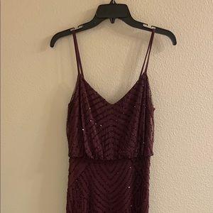 Art deco blouson beaded gown - Cassis